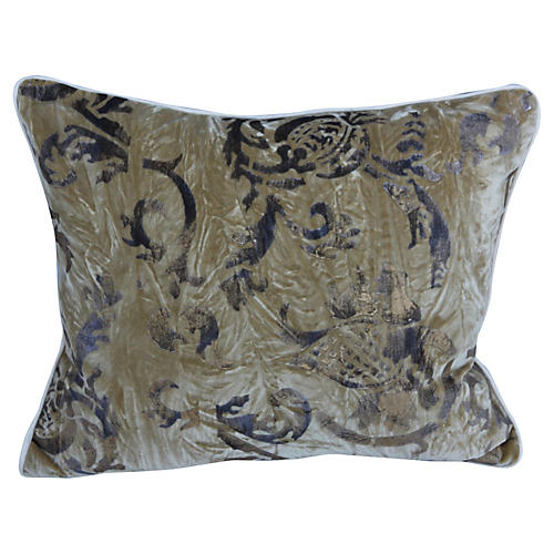 Gold Metallic Stenciled Velvet Pillow
