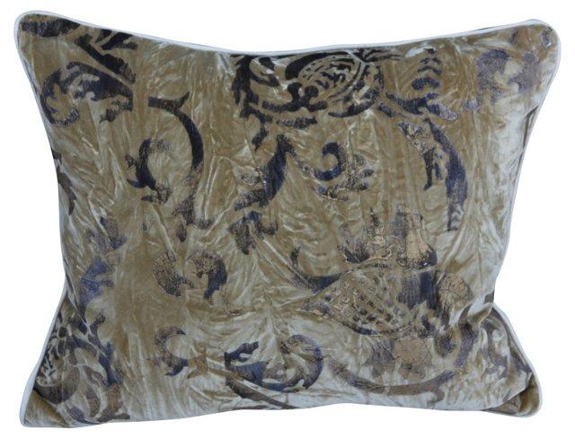 Gold Metallic Stenciled Velvet Pillow