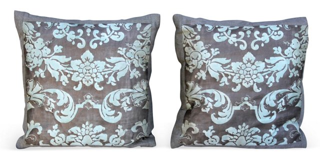 Seafoam Fortuny Pillows, Pair