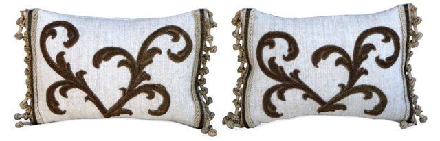 Metallic Appliquéd Linen Pillows, Pair