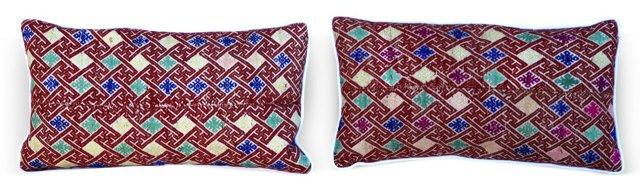 Rust Hmong Pillows, Pair