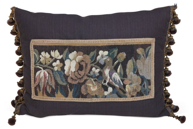 Pillow w/ Antique Floral  Tapestry