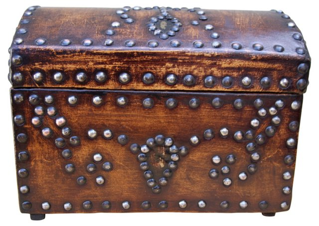 Leather Studded Domed Box