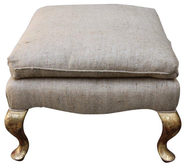 Burlap-Upholstered     Ottoman