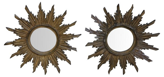 Italian Carved Sunburst Mirrors, Pair