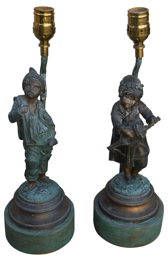French Brass Figural Lamps, Pair