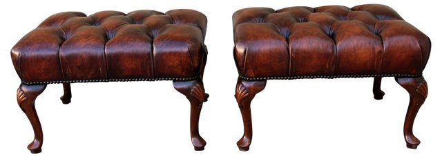 French  Leather Tufted Benches, Pair