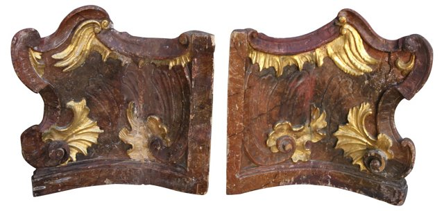Italian Painted & Parcel Gilt Carvings
