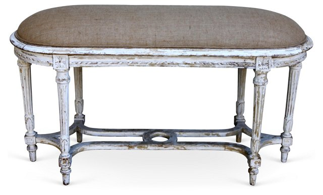 Italian Painted Burlap-Upholstered Bench
