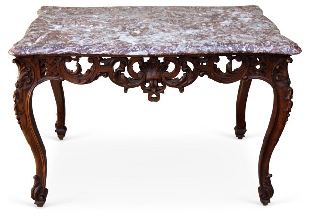 French Walnut Table w/ Marble Top