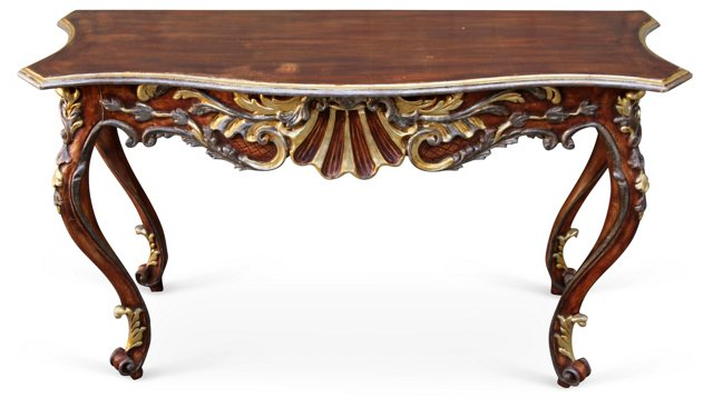 French Painted & Parcel Gilt Console