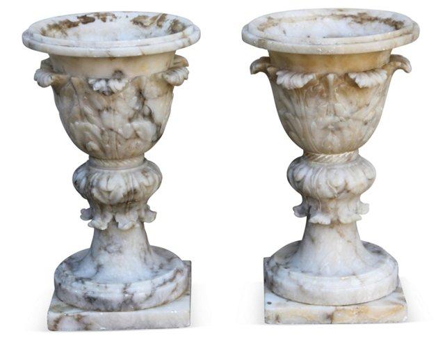 Italian Alabaster Urns, Pair