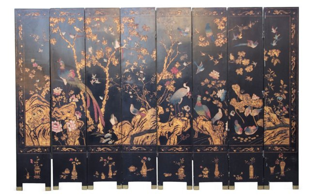 Chinese Paneled Painted Screen