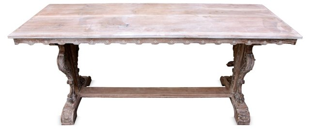Italian-Style  Carved &  Washed Table