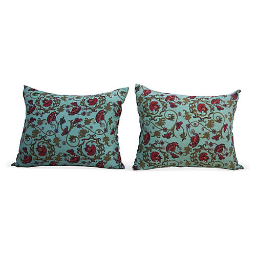 Aqua Printed Floral Pillows, Pair