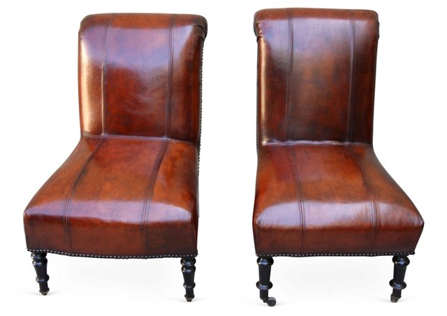 Leather   Side Chairs, Pair