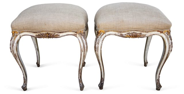 French Painted & Gilt Benches, Pair