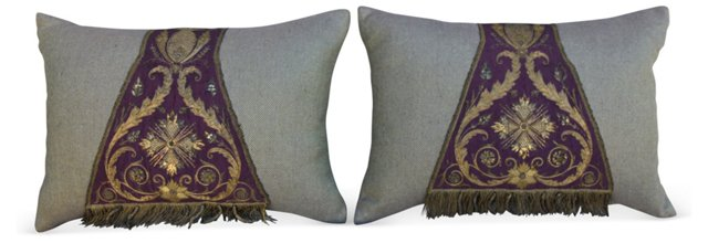 Gold Embroidered Silk Pillows, Pair