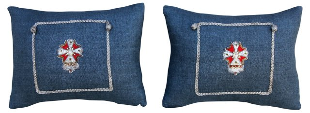 Appliquéd Shield Linen Pillows, Pair