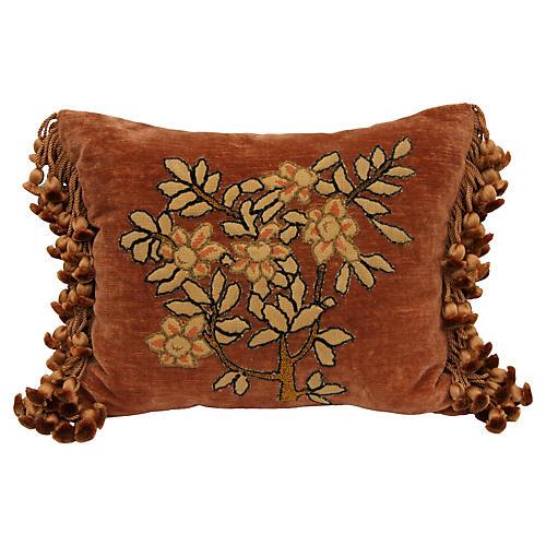 Needlepoint Floral Appliqué Pillow
