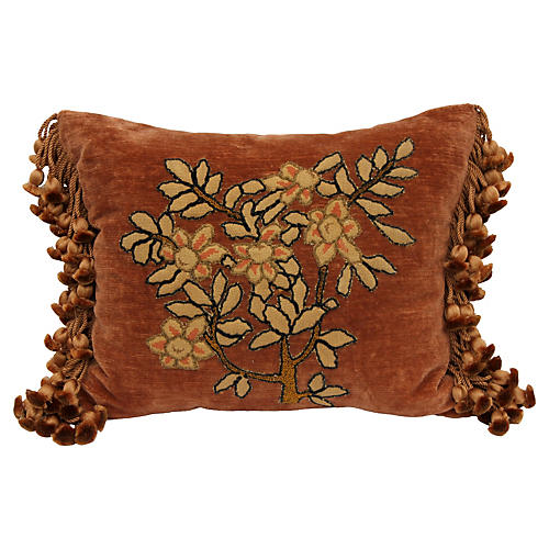 Needlepoint Floral Appliqué Pillow
