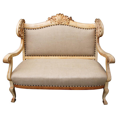 19th-C. French Carved Sofa w/ Shell