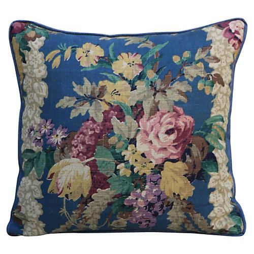 Floral Printed Linen Pillow