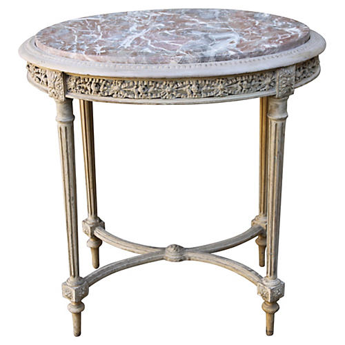 Louis XVI-Style Table w/ Marble Top