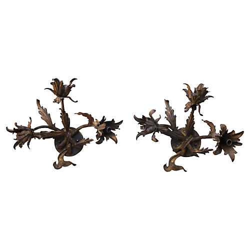 Gilt Metal Floral Sconces, Pair