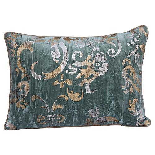 Metallic Silver & Gold Stenciled Pillow