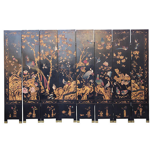 8-Panel Chinese Painted Screen