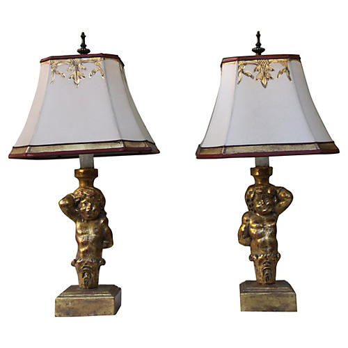 Giltwood Figural Lamps w/ Shades, Pair