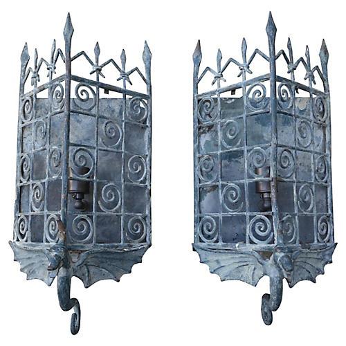 Gothic-Style Sconces w/ Dragon, Pair