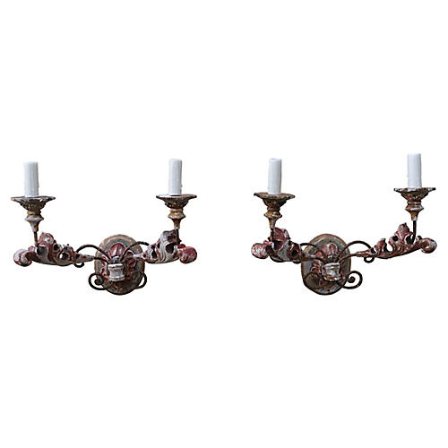 2-Light Carved Wood & Painted Sconces