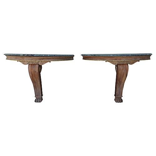 Marble, Wood & Parcel-Gilt Consoles, S/2