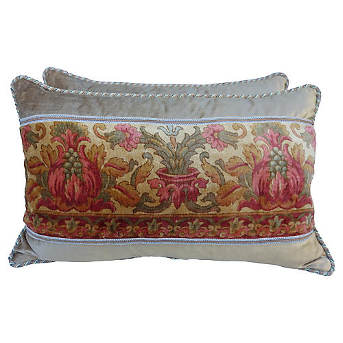Italian Printed Velvet Pillows, Pair