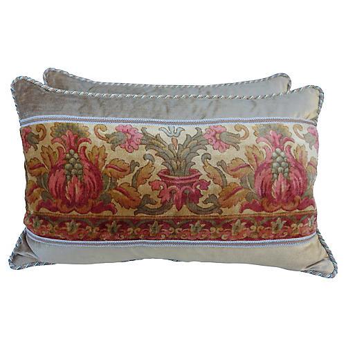 Italian Printed Velvet Pillows, Pair