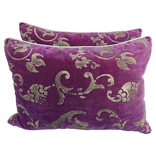 Gold Stenciled Nomi Velvet Pillows, Pair
