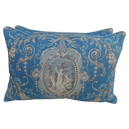 French Toile Pillows, Pair