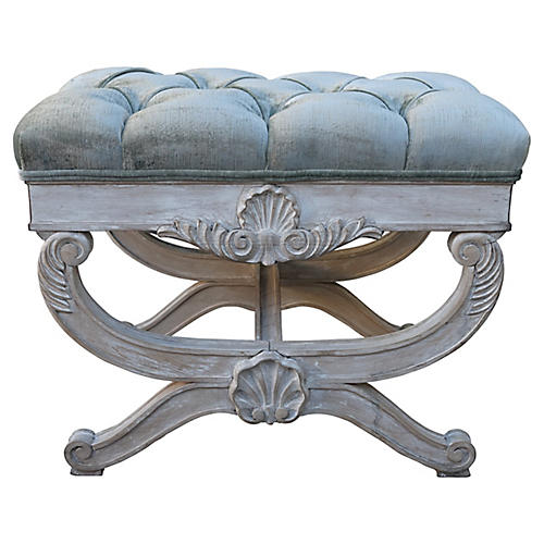 1930s French Carved Bench w/ Velvet