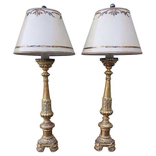 Giltwood Candlestick Lamps, Pair