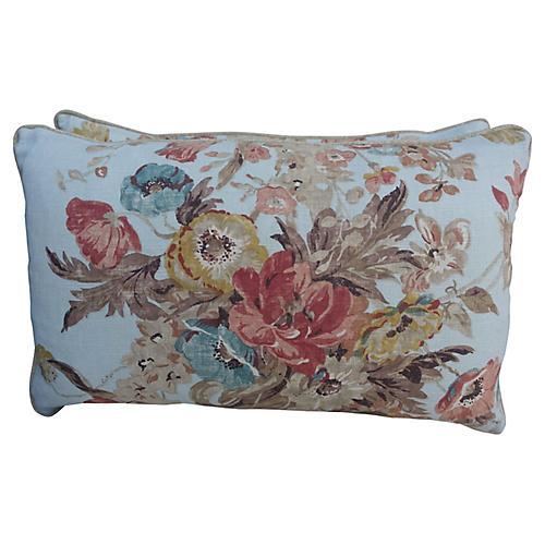 Printed Floral Linen Pillows, Pair