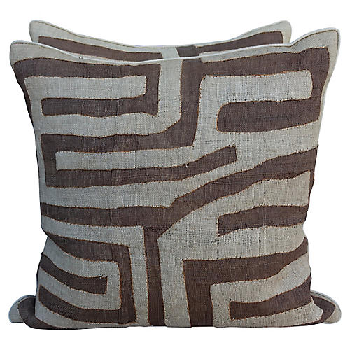 Brown & Cream Kuba Cloth Pillows, Pair
