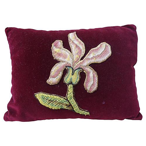Burgundy Appliqued Mohair Pillow