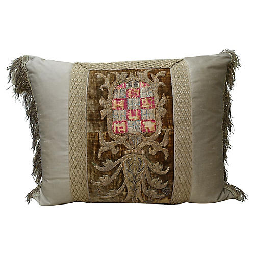 19th-C. French Crest Pillow