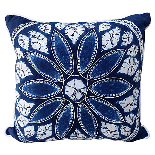 Blue & White Batik Flower Pillow