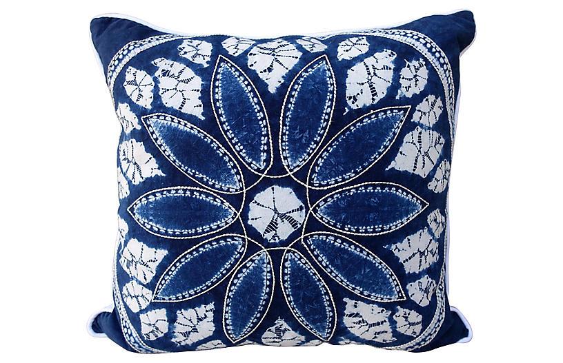 Blue & White Batik Flower Pillow
