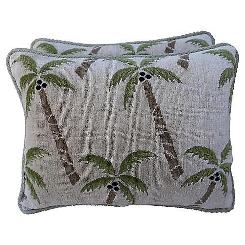Palm Tree Pillows, Pair
