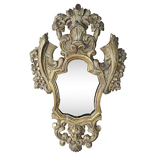 19th C Italian Carved Cherub Mirror