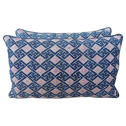 Pink and Blue Woven Hmong Pillows - Pair